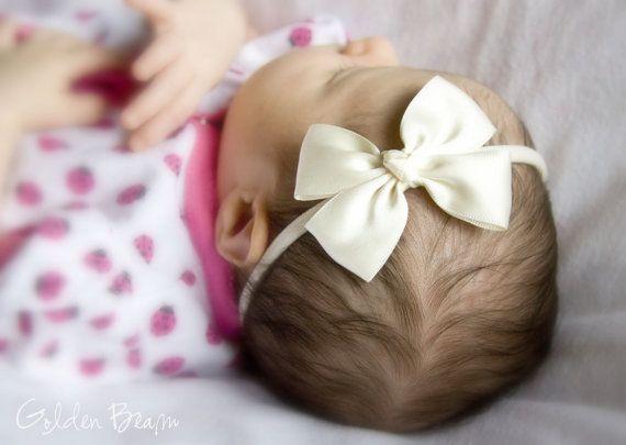 Ivory Baby Bows - Ivory Like a Butterfly Satin Bow Baby Handmade Headband - Baby to Adult Headband