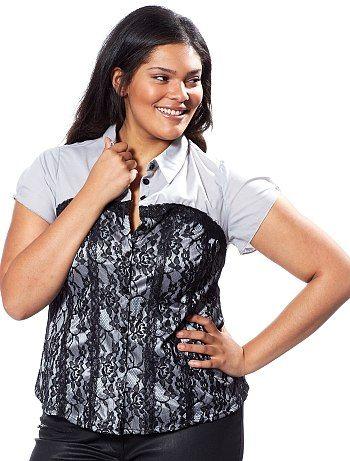 Camicia con pizzo Taglie forti donna 11,99€ Camicie La camicia si arricchisce di pizzo per essere più sexy! - Collo a camicia - Chiusura con bottoni - Pizzo nero davanti