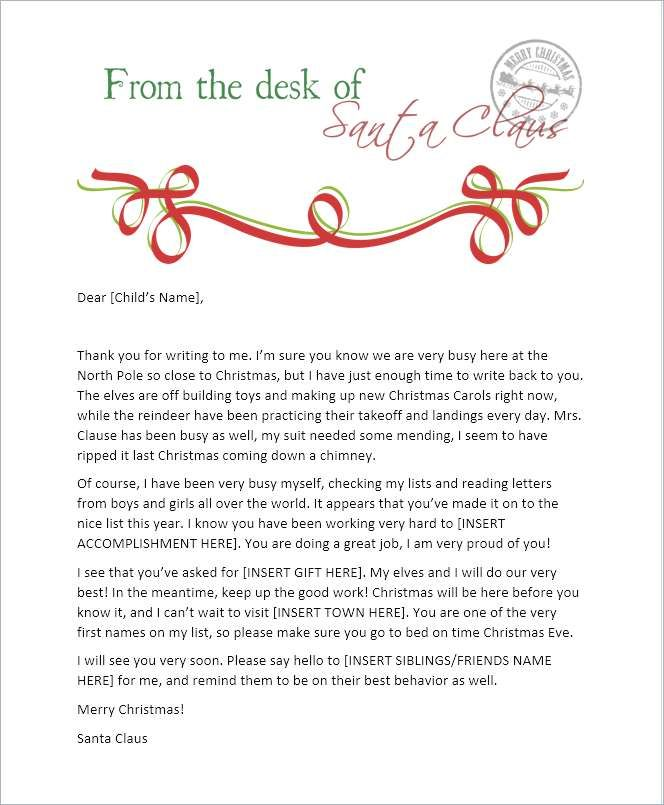 Blank Santa Reply Letter Template Free Printable Letter From
