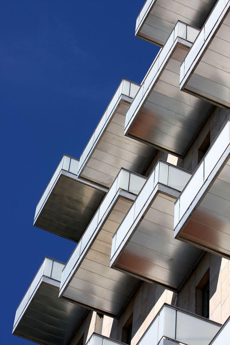 Metallic balconies at Queen's Corner in Herning, Denmark. By Henning Larsen Architects