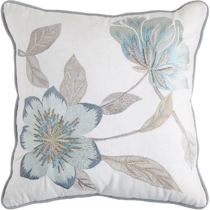 Glacier Bay Beaded Floral Blue Pillow