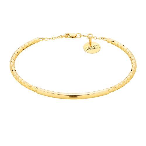 Złota sztywna bransoletka z regulacja długości.  Bardzo efektowny wygląd, doskonała na prezent.  Całość złoto 14K próba 585  Waga 4.30g