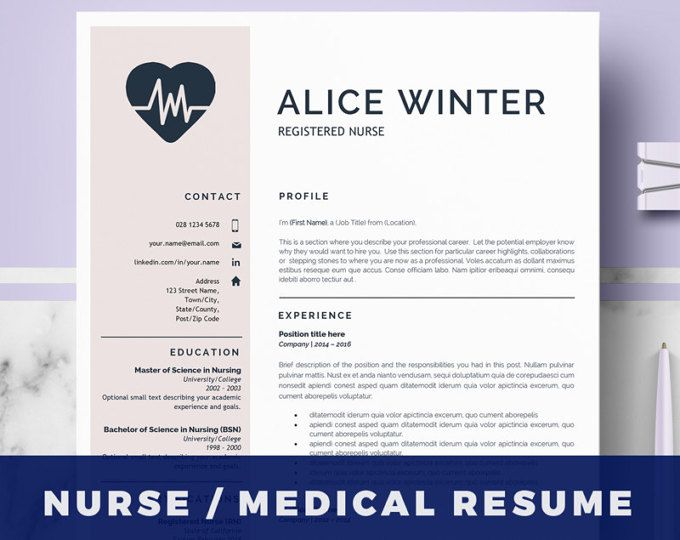 Nurse Resume Template Doctor Resume Template for MS Word RN - doctor resume