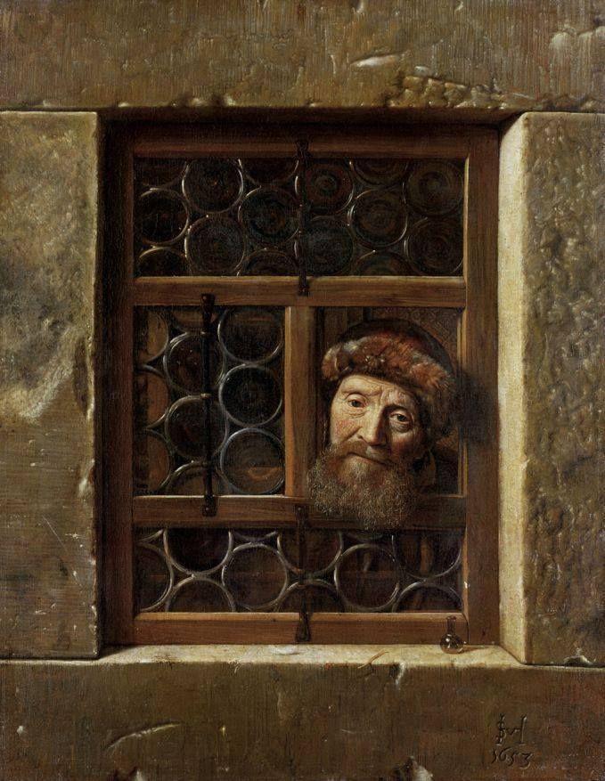 Samuel Dirksz van Hoogstraten (1627–1678), Old man looking through the window, 1653