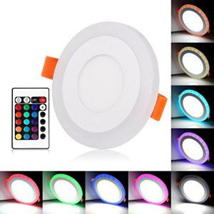 BLOOMWIN Bicolore Spot Encastrable LED Plafond 3 modes d'éclairage 6W Downlight Plafonnier RGB+Blanc