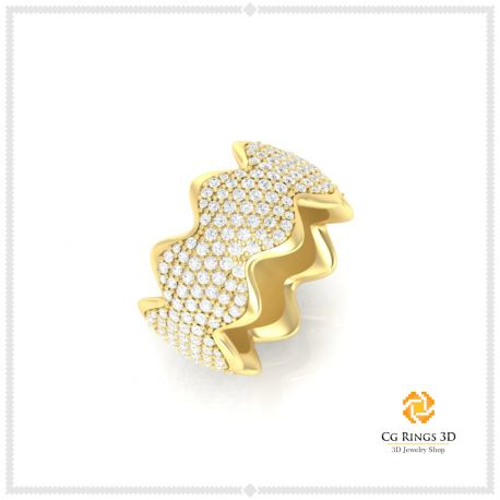 3D CAD Ladies Wedding Bands With Diamonds
