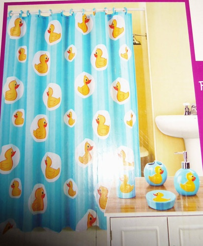 DUCKS FABRIC SHOWER CURTAIN 6PC BATHROOM SET NEW BLUE YELLOW