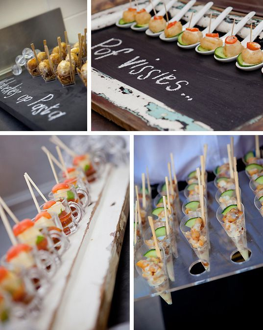 Chalkboard paint is a fun and creative way to label food at a buffet table.