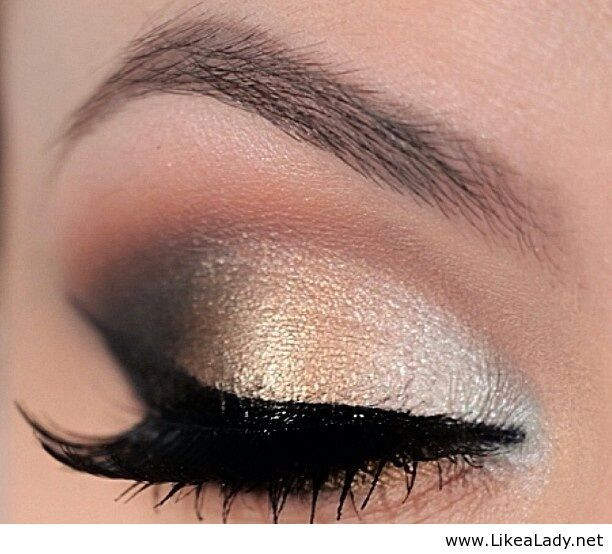 Gold and black eye makeup for women