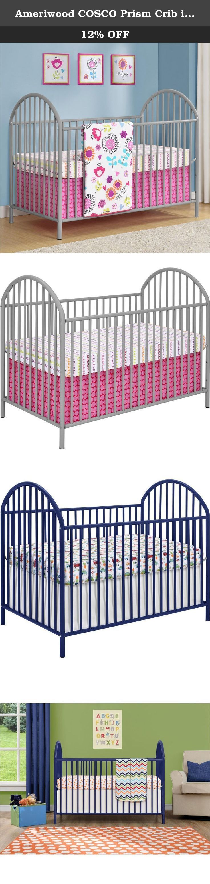 Ameriwood COSCO Prism Crib in Navy Blue. Curved edges help the contemporary Cosco Prism Metal Crib stand out from the crowd, and that unique touch isn't the only reason you'll want to add this crib to your nursery. You can sleep soundly knowing your baby's crib uses only nontoxic finishes and has been tested for lead and other exotic elements. It meets or exceeds both U.S. government and ASTM safety standards, and three mattress height options let this piece grow with baby. Assembly...