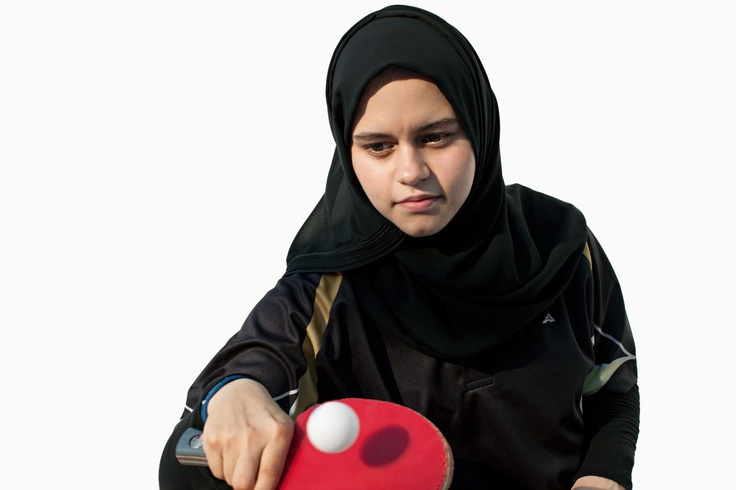 Aia Mohamed, Table tennis, Qatar.  As the Olympics Approach, Brigitte Lacombe's Stunning Portraits of Arab Lady Athletes | Blogs | Vanity Fair
