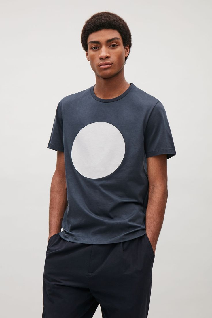 COS image 2 of Circle print t-shirt in Steel Blue