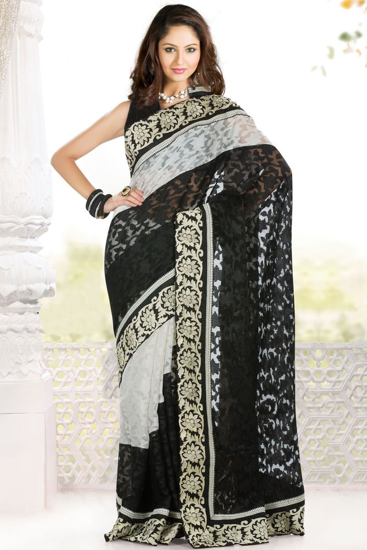 Black and Off-white Jute Patola Embroidered Party and Festival Saree