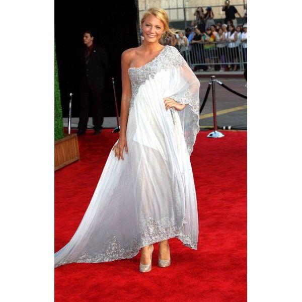 Blake Lively One Shoulder Embroidery Prom Dress 2011 BAFTA Red Carpet #BlakeLivelydress