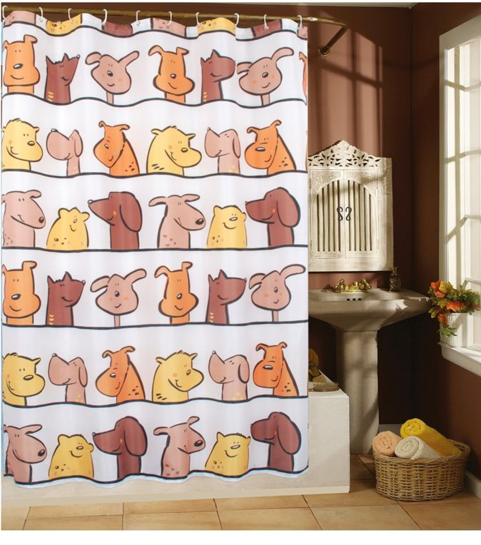 Contemporary Art Sites Lovley Cartoon Dogs Fabric Shower Curtain T Wholesale Faucet