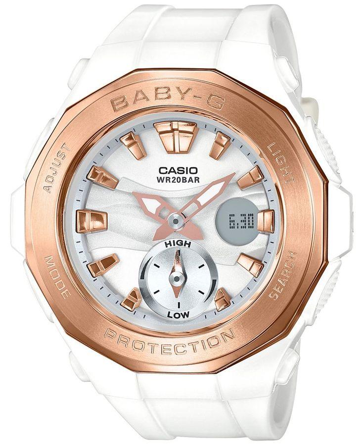 Baby-g Women's Analog-Digital White Resin Strap Watch 45x47mm BGA220G-7A