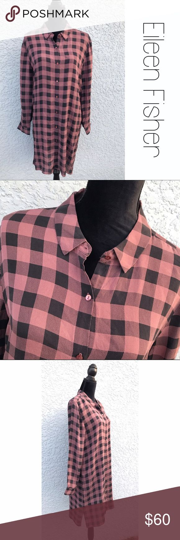 """Eileen Fisher Sheer Plaid Tunic Top Dress M Pretty mauve/pink and black check plaid sheer Tunic top from Eileen Fisher. 34"""" from shoulder to hem. Could be worn as a dress too.  EUC.  Size med. B8 Eileen Fisher Tops"""