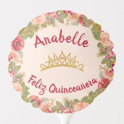 Blush Floral with Gold Crown Quinceañera Birthday Balloon   Zazzle.com