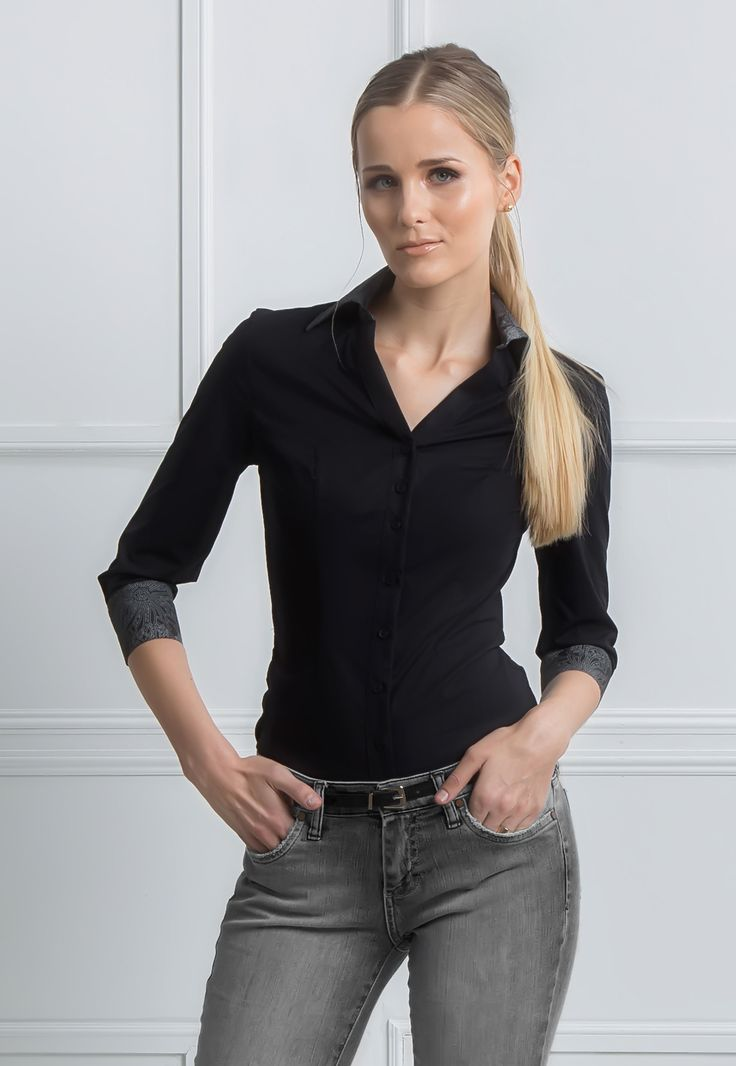 Mckayla - V Neck fitted dress shirt women 3/4 sleeves