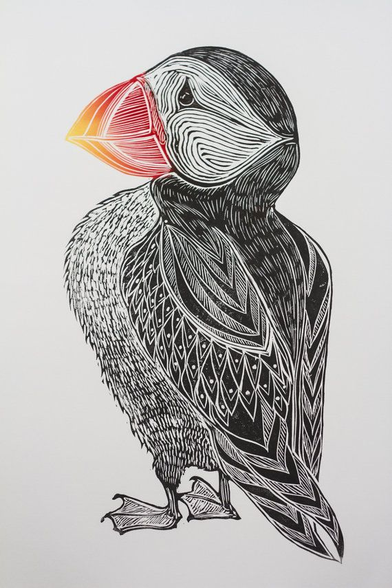 PUFFIN - hand carved, hand printed linocut Laura K Murdoch