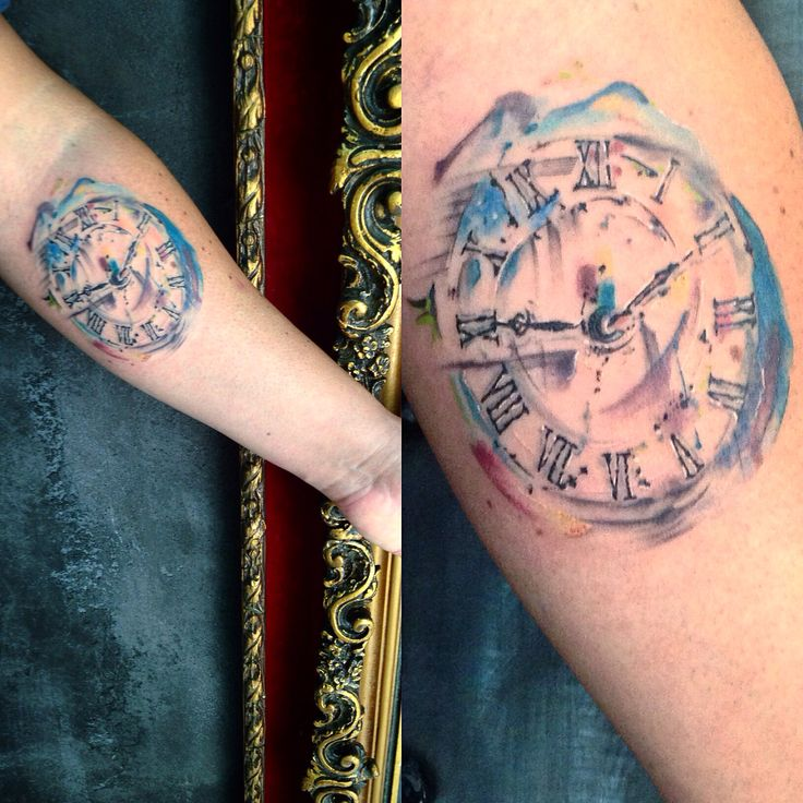 Watercolor tattoo clock vintatts tattoo shop kolonaki for Tattoo shops 24 hours