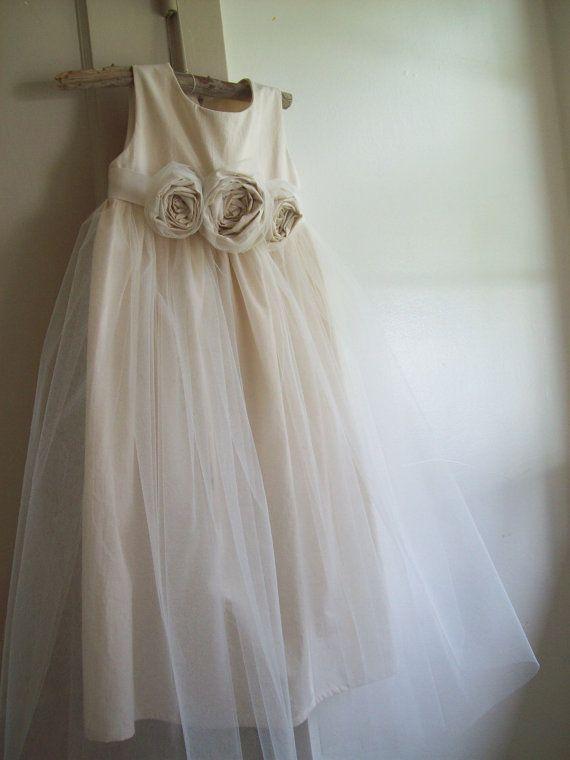 Flower girl dress  Misty Cedar Natural Cotton 2T5 by OliveandFern, $99.00