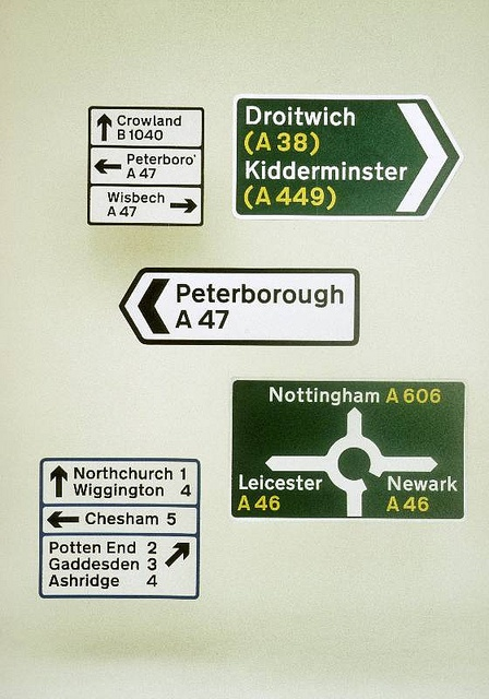 Signs created by Kinneir and Calvert. These are used everywhere across the UK…