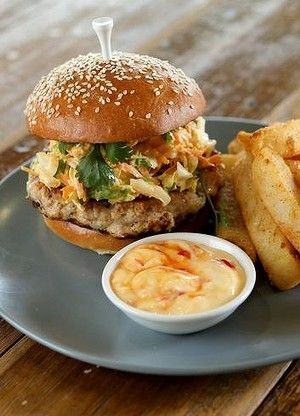 Golf tee-spiked Thai chicken burger at Mister Fox at Ringwood Golf Club.