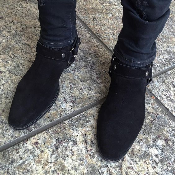 Handmade Men black suede bike boot, Men ankle boot, Men side zipper boot #Handmade #Biker