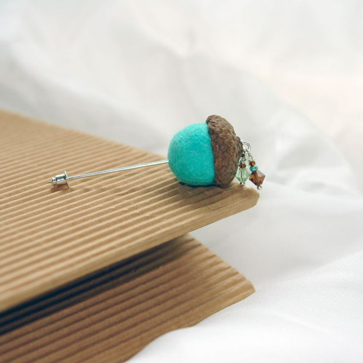 Hand felted acorn - The Cute Acorn - to wake up for new day - felted pin, boutonniere , mint brown. $10.00, via Etsy.