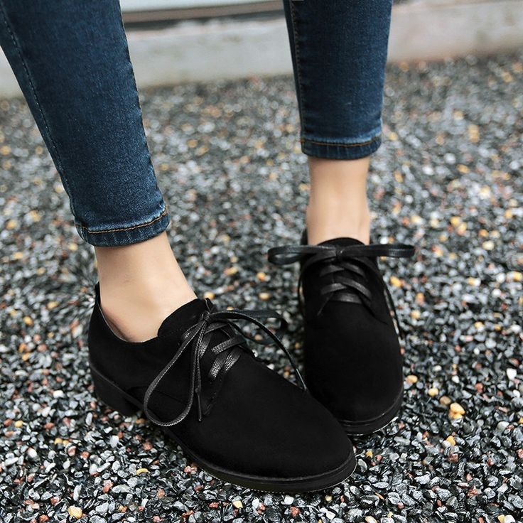 Lace Up Women Flats Flock Casual Shoes