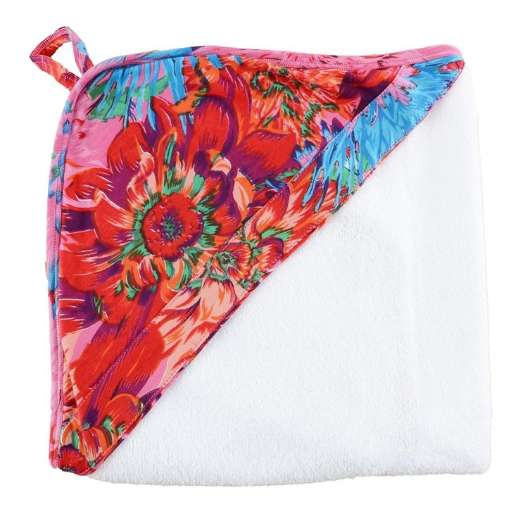 Floral Hooded Towel. Bath and swim time has never looked so cute with our bold print hooded towels. Made from a super soft terry towel complete with a 100% cotton hood. www.wildandbliss.com