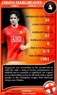 2009 Top Trumps Specials Manchester United #NNO20 Owen Hargreaves Front