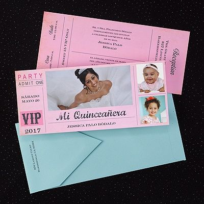 Celebrate your quinceañera with this two-sided VIP ticket invitation.