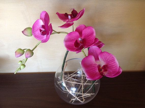 Real touch Phalaenopsis Orchid in Fish Bowl by Anggerik on Etsy