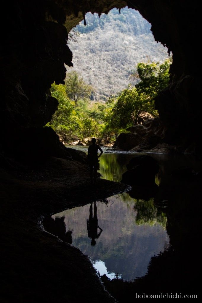 Thakhek's Cave Quest in Laos - Bobo and ChiChi - Reflections-in-Tham-Xieng-Liap