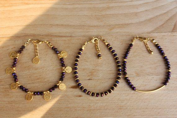 Goud en Jewel paars kristal kralen sierlijke door monroejewelry