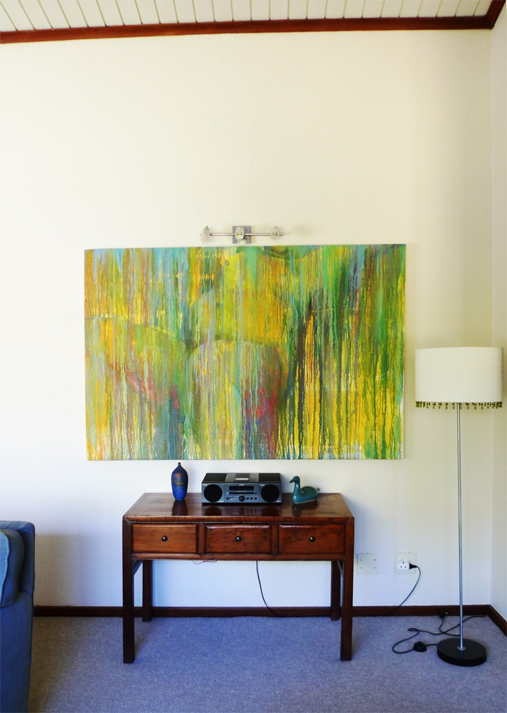 another stunning work by Kirsty Rich hanging in Claire's home above a desk in her living area.