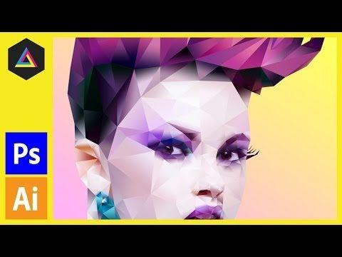 Polygonal portrait | Gradient effect in Adobe Photoshop with Illustrator - YouTube