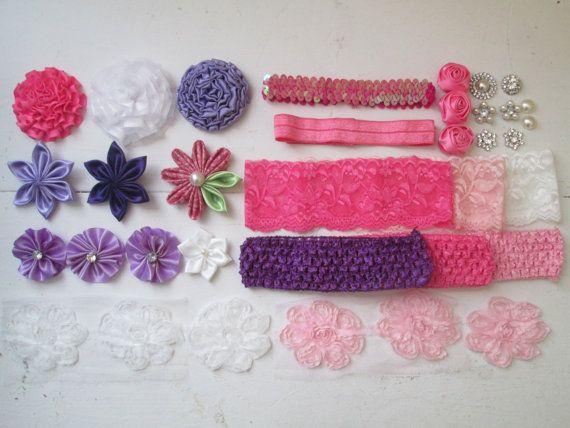 DIY Purple & Pink Headband Kit, READY to SHIP, Christmas Gift for Her, Headband Flowers, Photo Prop, Baby Shower, Shabby Roses, Kanzashi