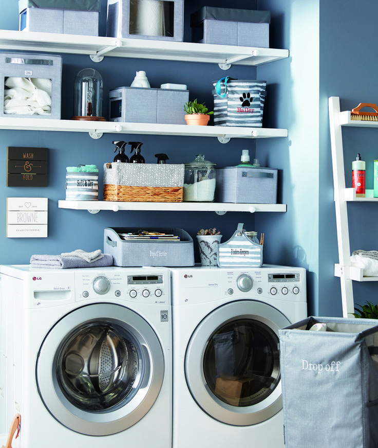 Laundry room with your way cubes, rectangles, and display bins.