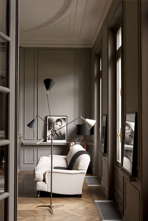 love these warm grey walls - add white linings on the moldings...hubba hubba!