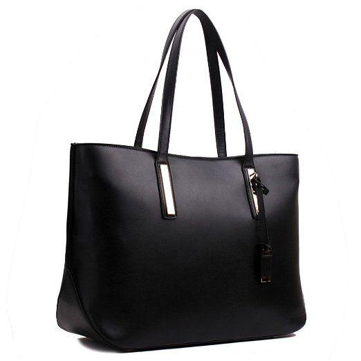 Damen Handtasche Shopper Damentasche Tragetasche Schultertasche XXL Groß (Schwarz)
