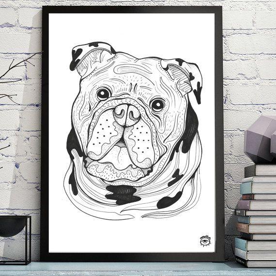 Bulldog Dog A4  A5 illustration print art dog print dog by mmuffn