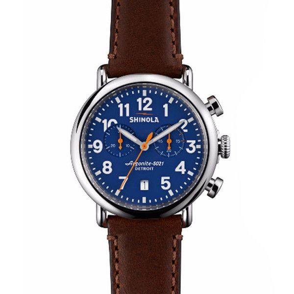 Shinola Runwell Watch | Brown Leather with Blue