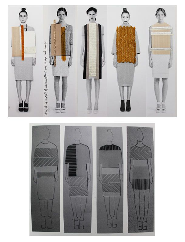 Fashion Portfolio layout - fashion design illustrations with embroidered textile swatches - collection lineup; fashion sketchbook // Anna Duthie