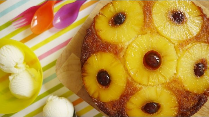 Pineapple upside-down cake recepie says to cook on gas mark 6, but it burns, gas mark 4 perfect and i had to add baking powder in to make it a bit more fluffier. I also used pineapple juice instead of water