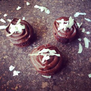 Cocoa cupcakes with peanut butter chocolate frosting … drool