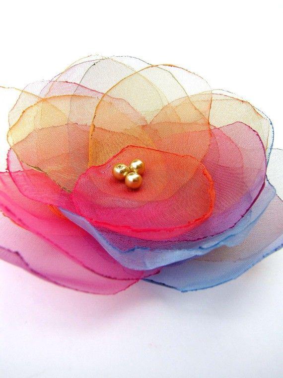 Handmade organza flower brooch  RAINBOW BLOSSOM by JujaCrafts, $15.00