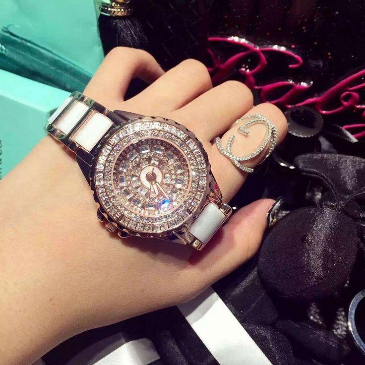 women fashion watch luxury Rose gold crystal diamond bracelet watches Ceramic Strap dress watch for women montre femme